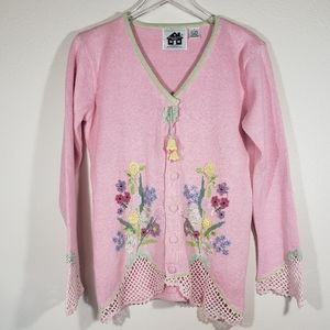 Storybook Knits Pink Small Gentle Blossoms Sweater